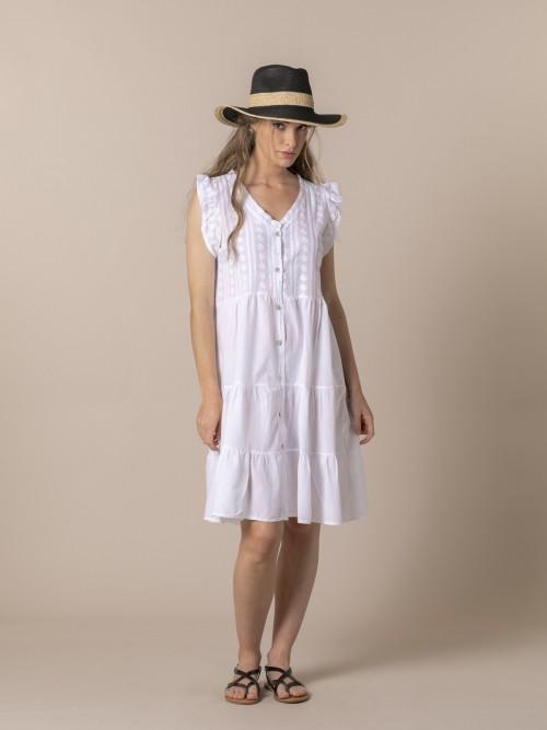 Vestido bordado mujer Blanco