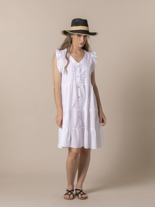 Woman Embroidered dress White