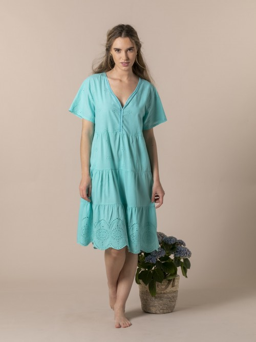 Woman Embroidered midi dress Turquoise