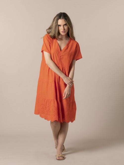 Woman Embroidered midi dress Orange