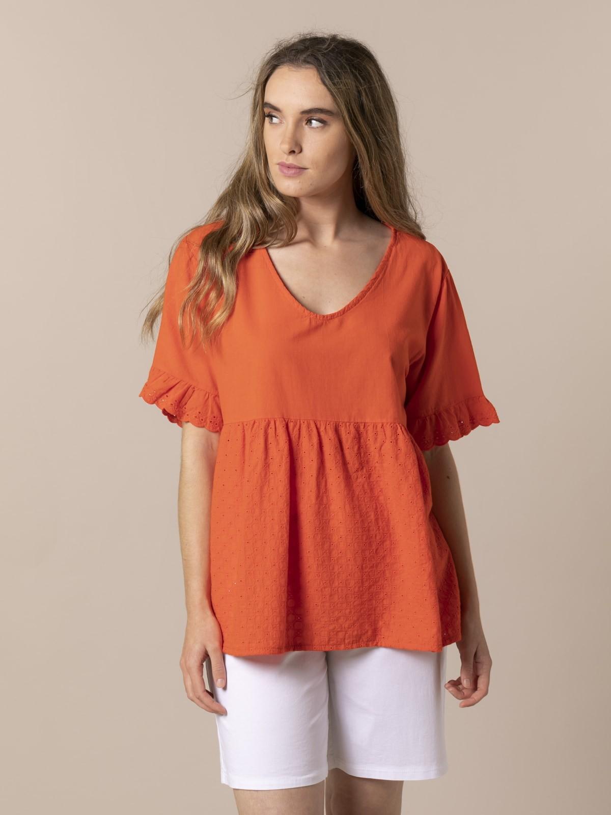 Woman Woman Fresh voile cotton blouse Orange