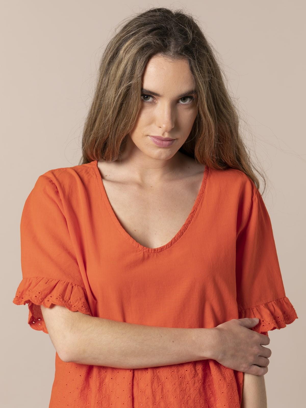 Woman Fresh voile cotton blouse Orange