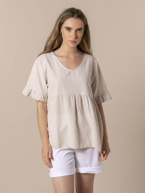 Blusa mujer algodón voile fresh Beige