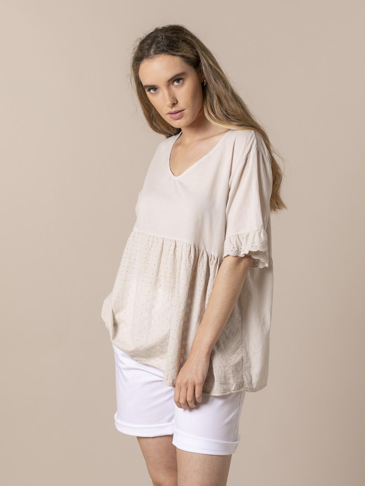 Woman Woman Fresh voile cotton blouse Beige