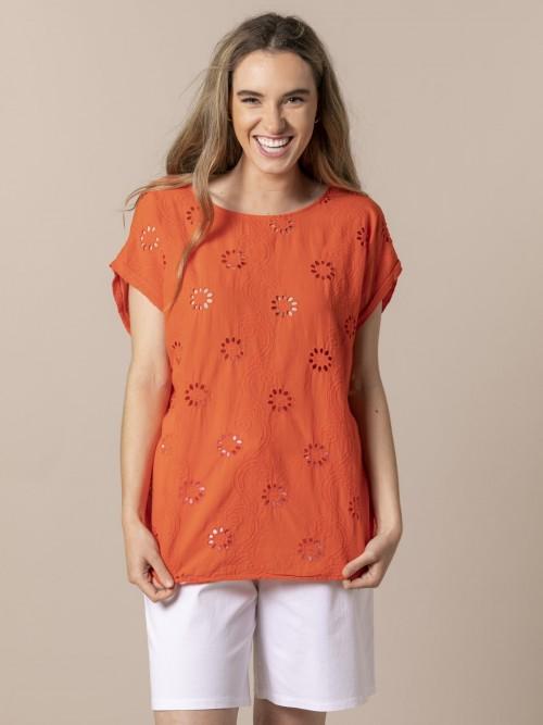 Blusa mujer dibujo Flor perforada Naranja