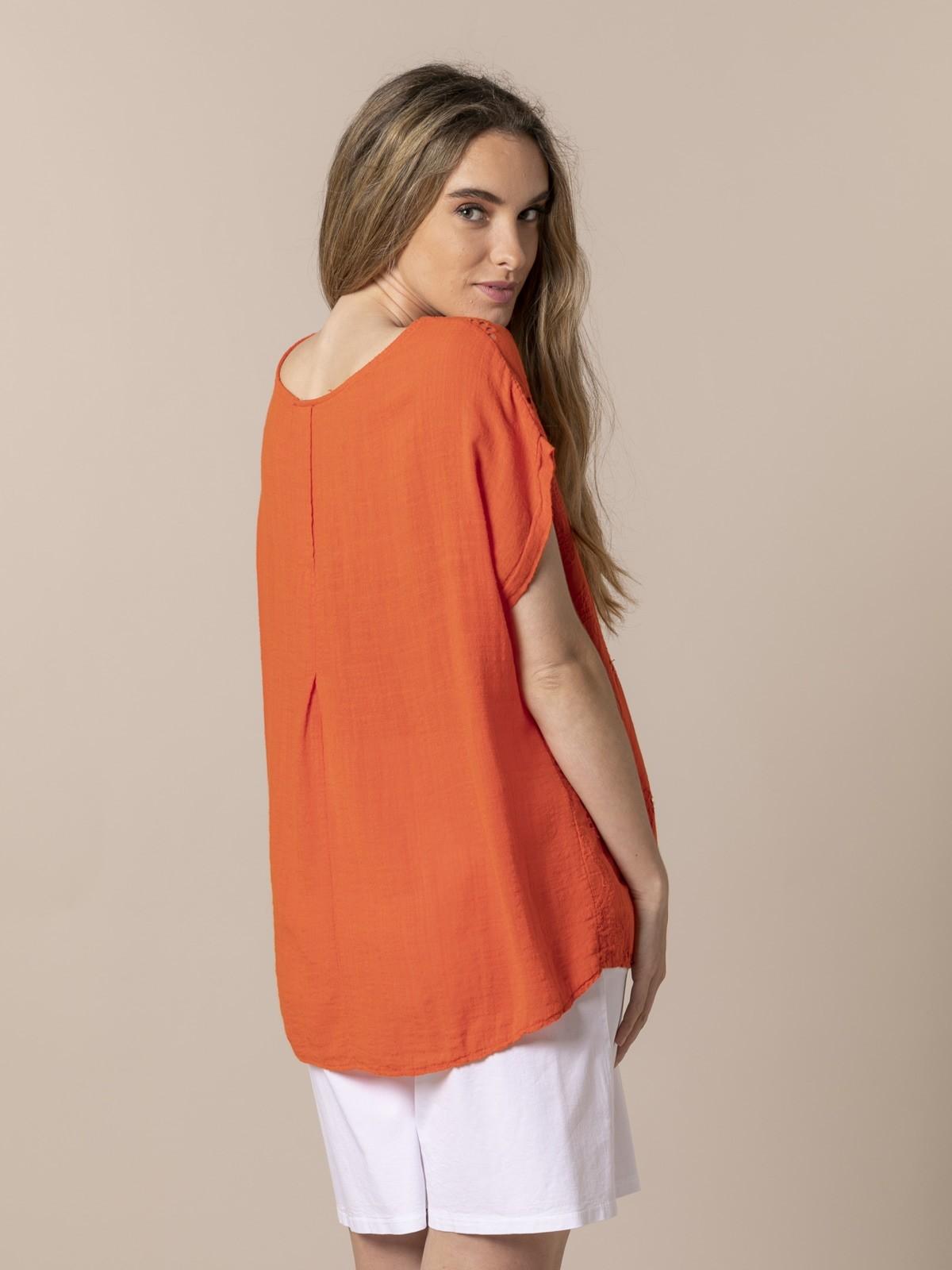 Woman Woman Perforated flower print blouse Orange