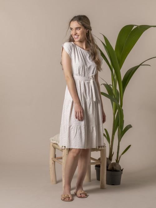 Woman Monochrome print fluid dress Beige
