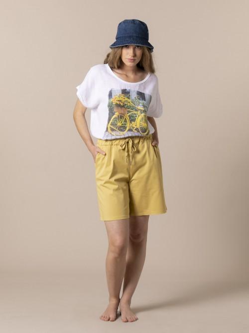 Bermuda mujer oversize algodón Amarillo