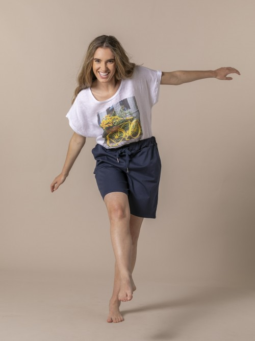 Bermuda mujer oversize algodón Azul Marino