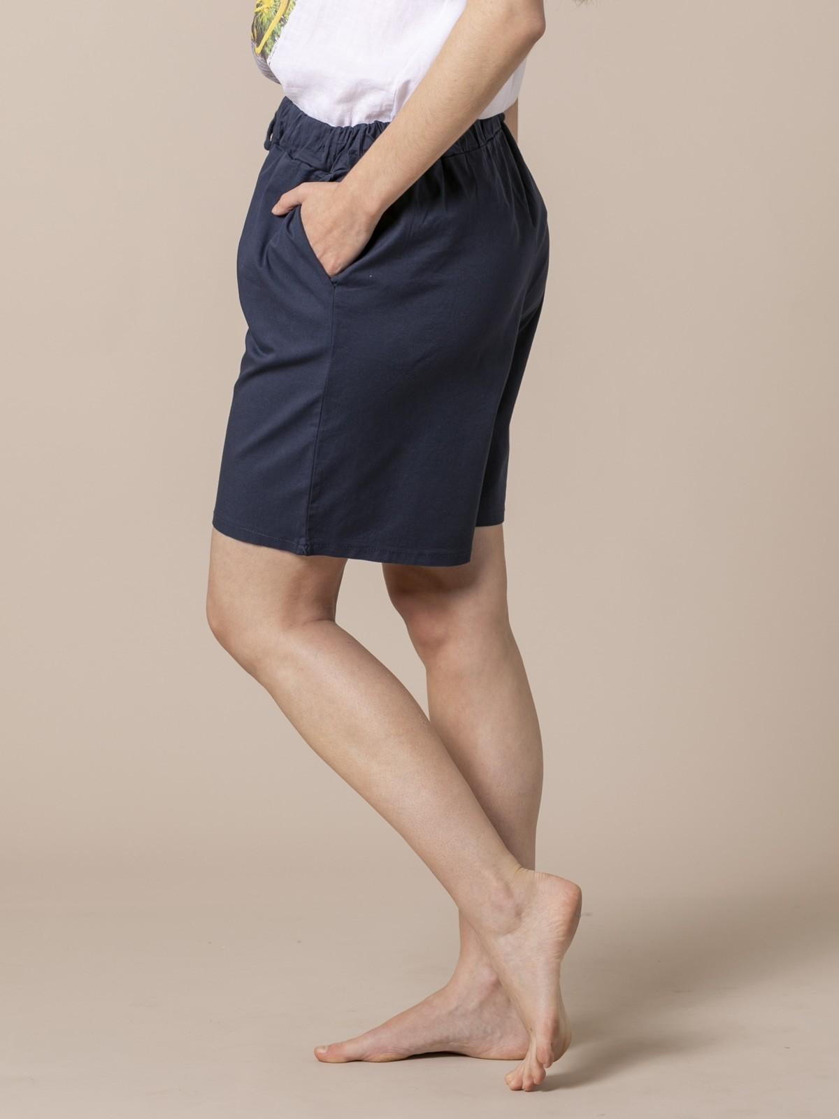 Woman oversized cotton bermuda Blue Navy