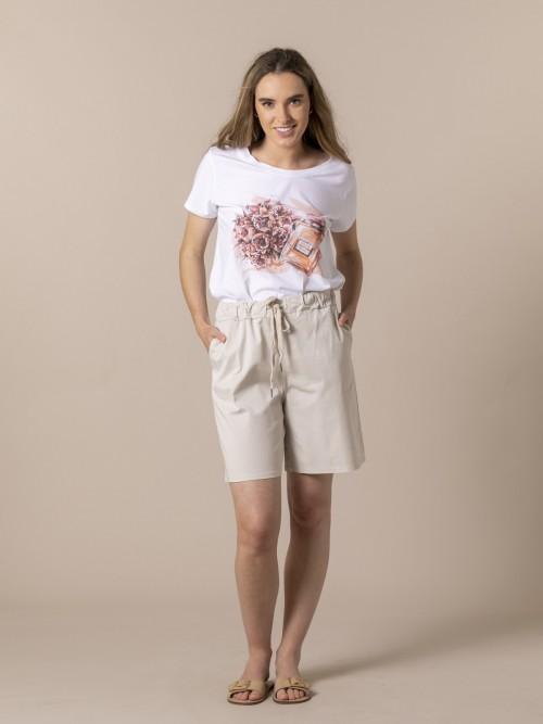 Woman oversized cotton bermuda Beige