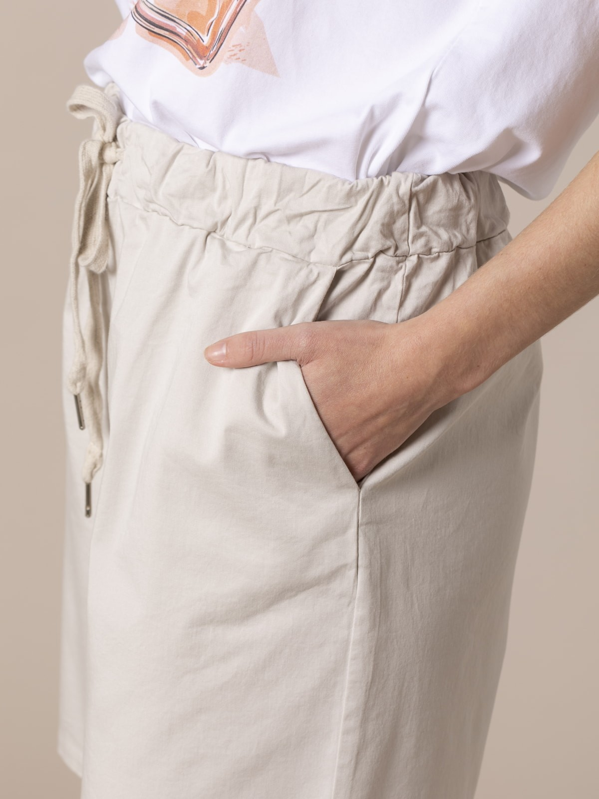 Bermuda mujer oversize algodón Beige
