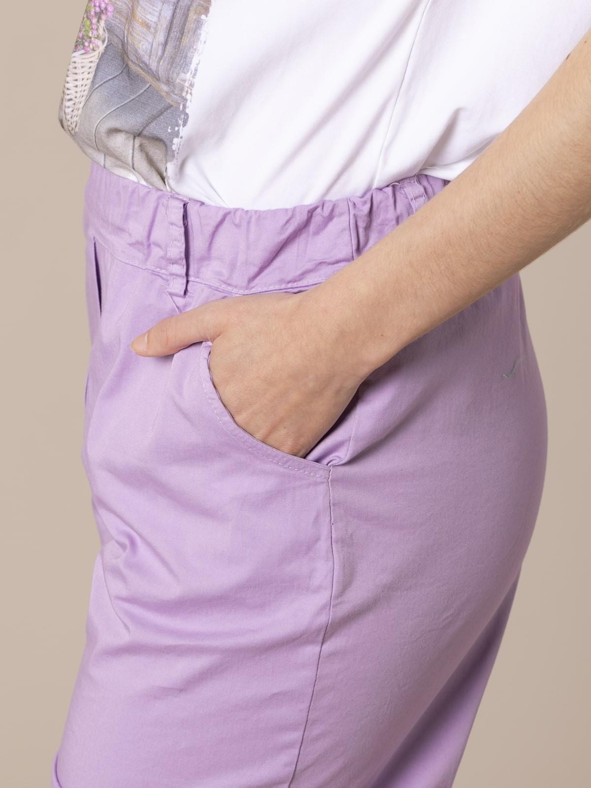 Woman cotton Bermuda with straps Lila