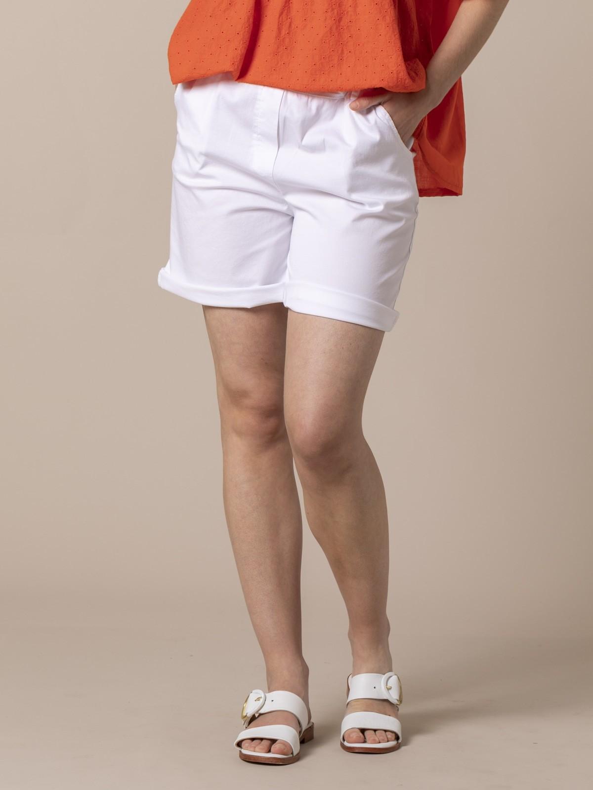 Woman cotton Bermuda with straps White
