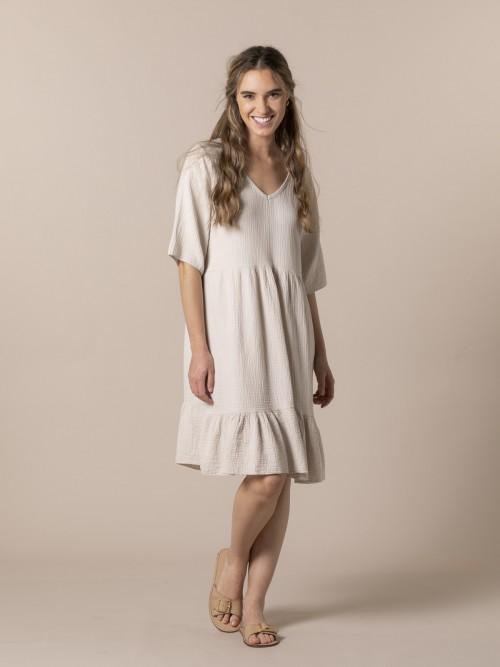 Woman Trendy fabric drop dress Beige