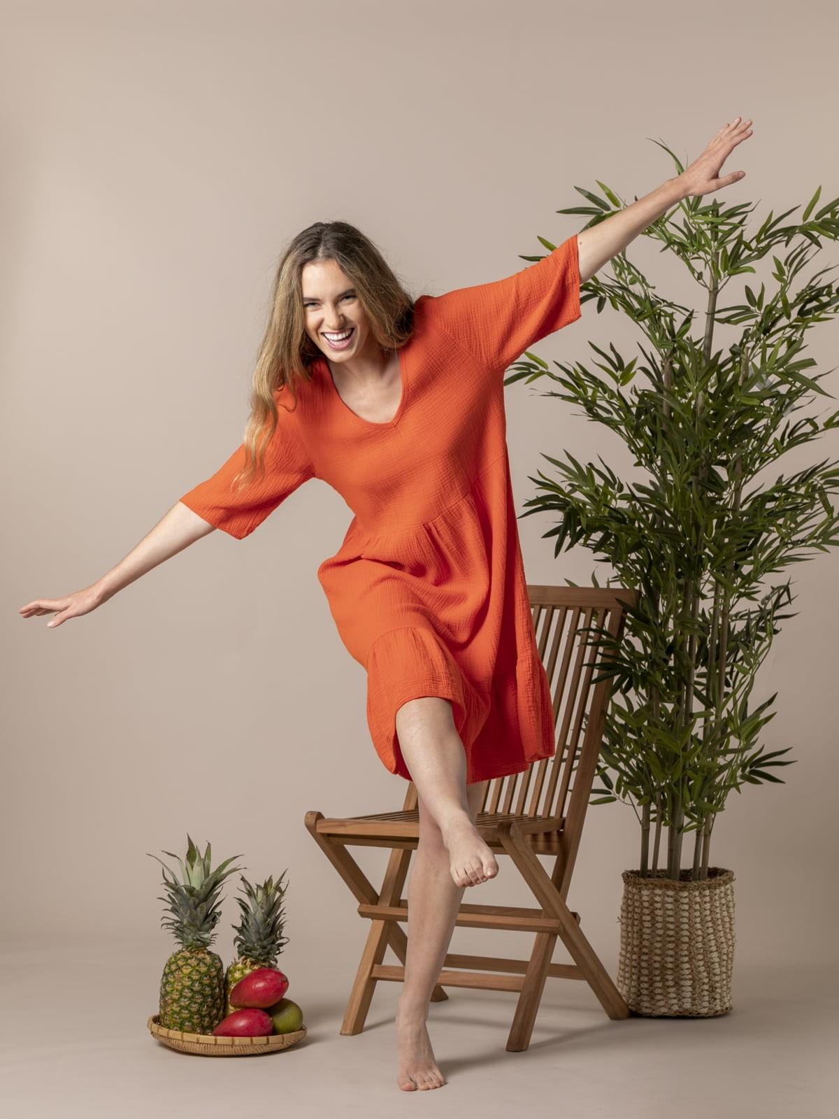 Vestido caida tejido trendy Naranja
