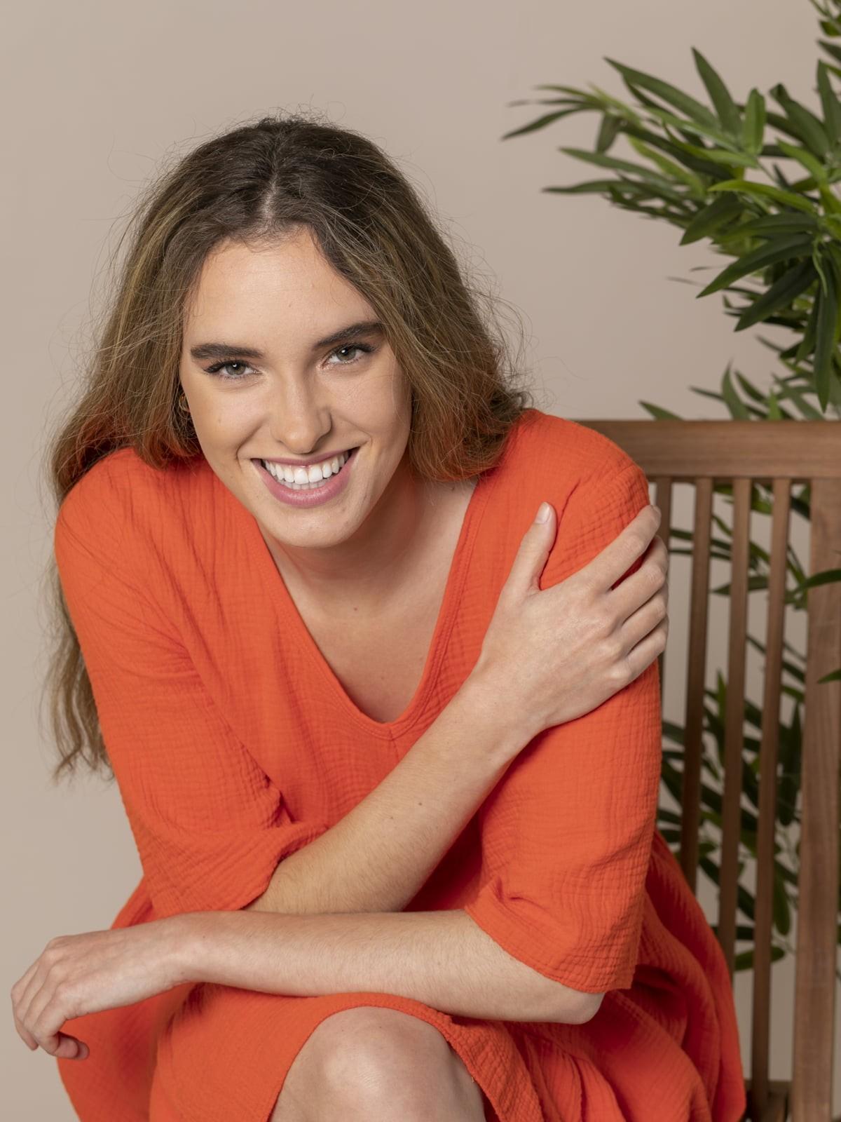Woman Trendy fabric drop dress Orange