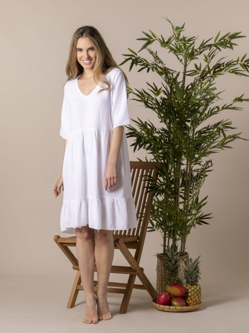 Vestido caida tejido trendy Blanco