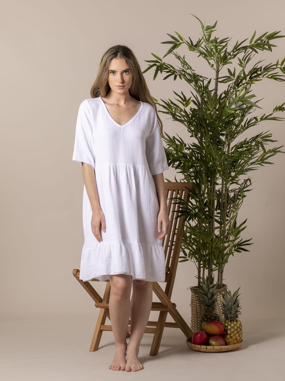 Woman Trendy fabric drop dress White