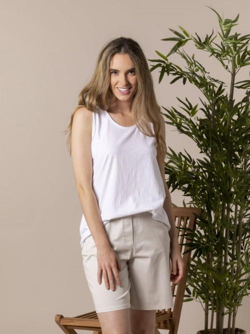 Camiseta mujer sin mangas algodón Blanco
