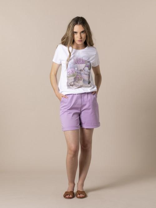 Woman Floral print T-shirt Beige