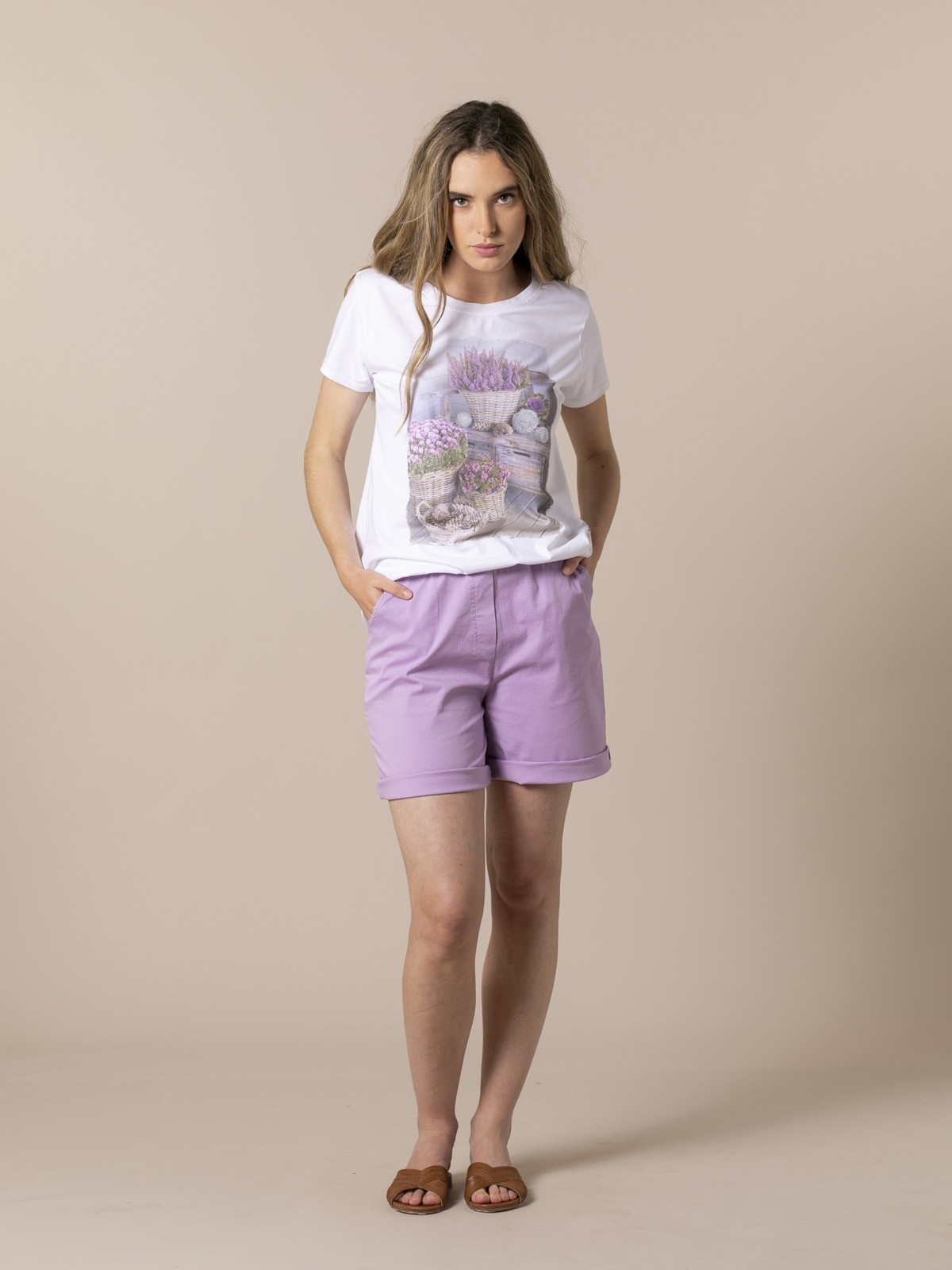 Camiseta mujer estampado floral Beige
