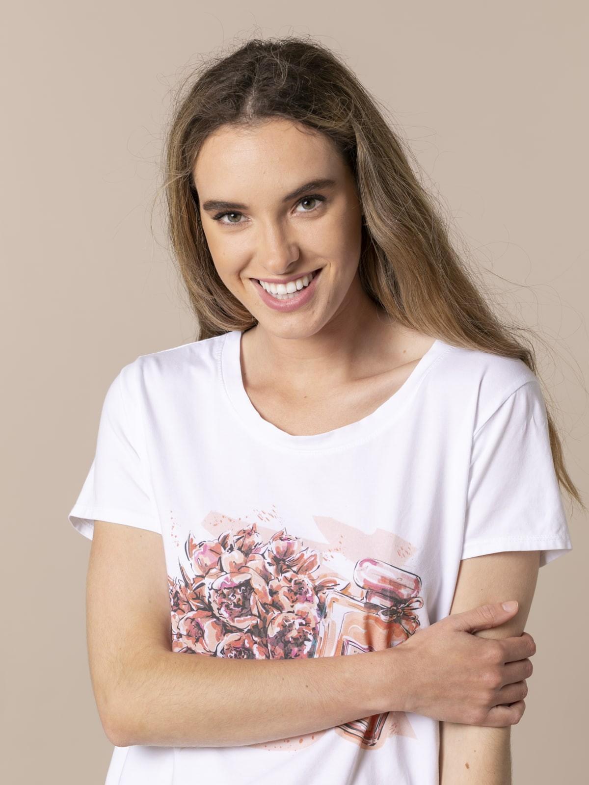 Camiseta mujer estampado perfume Coral