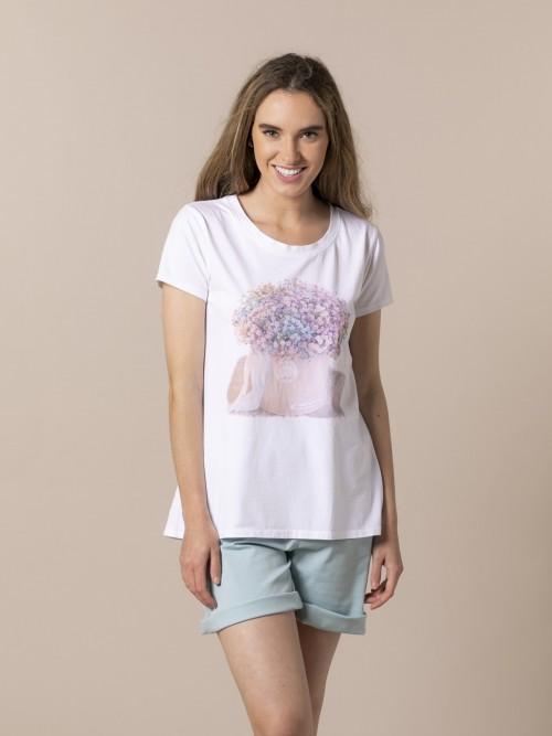 Camiseta mujer estampado bouquet Lila