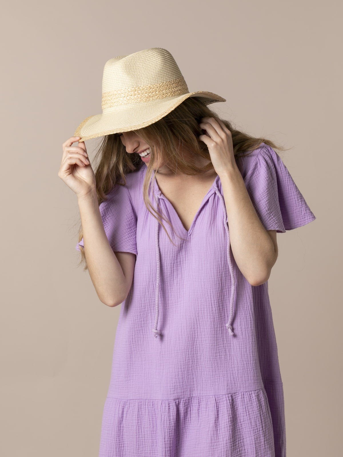 Sombrero rafia mujer Beige