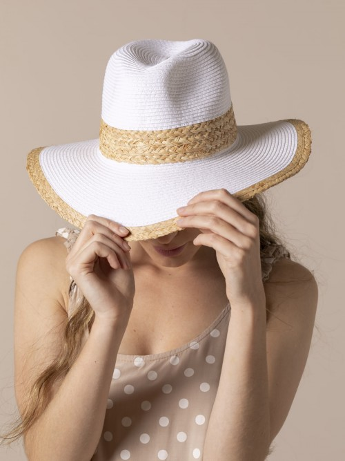 Sombrero rafia mujer Blanco