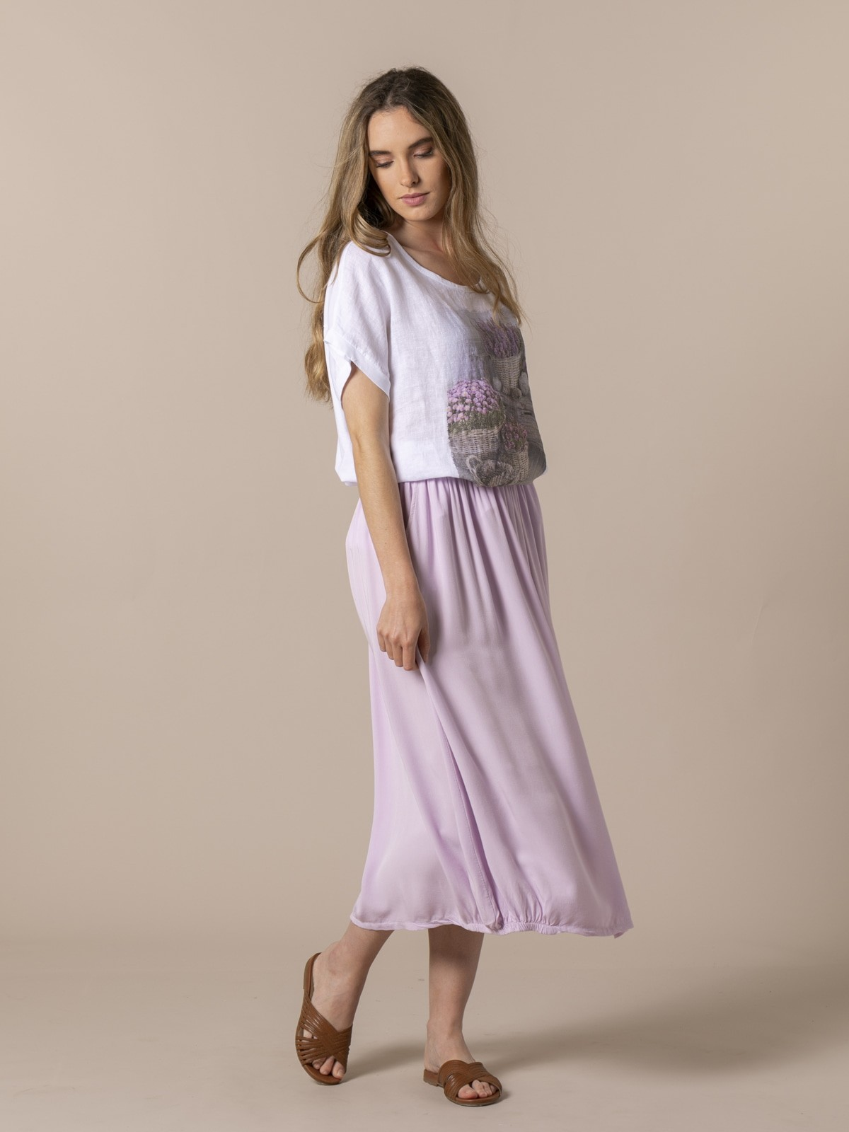 Woman Flowy skirt with elastic waist Lila