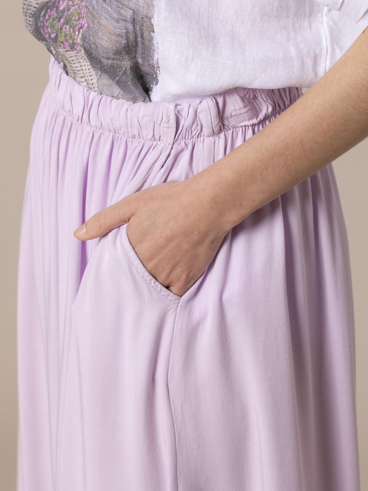 Falda fluida cintura elástica Lila