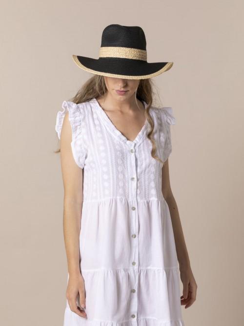 Sombrero rafia mujer Negro