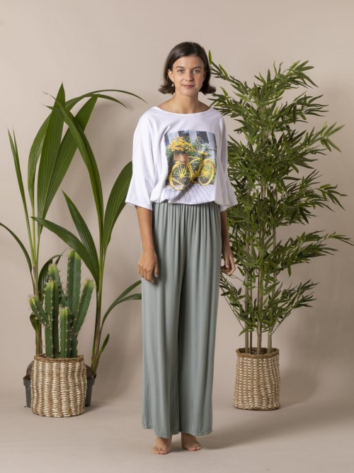 Pantalón mujer fluido cintura elástica Caqui