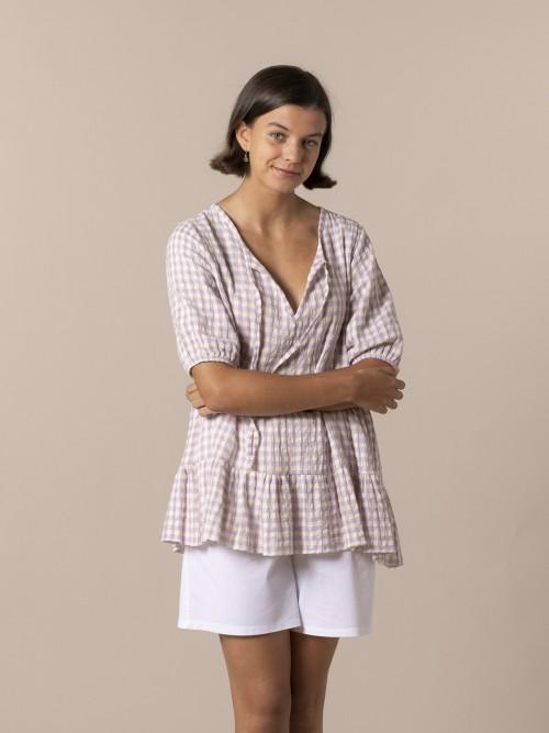 Camisa mujer cuadro vichy Lila