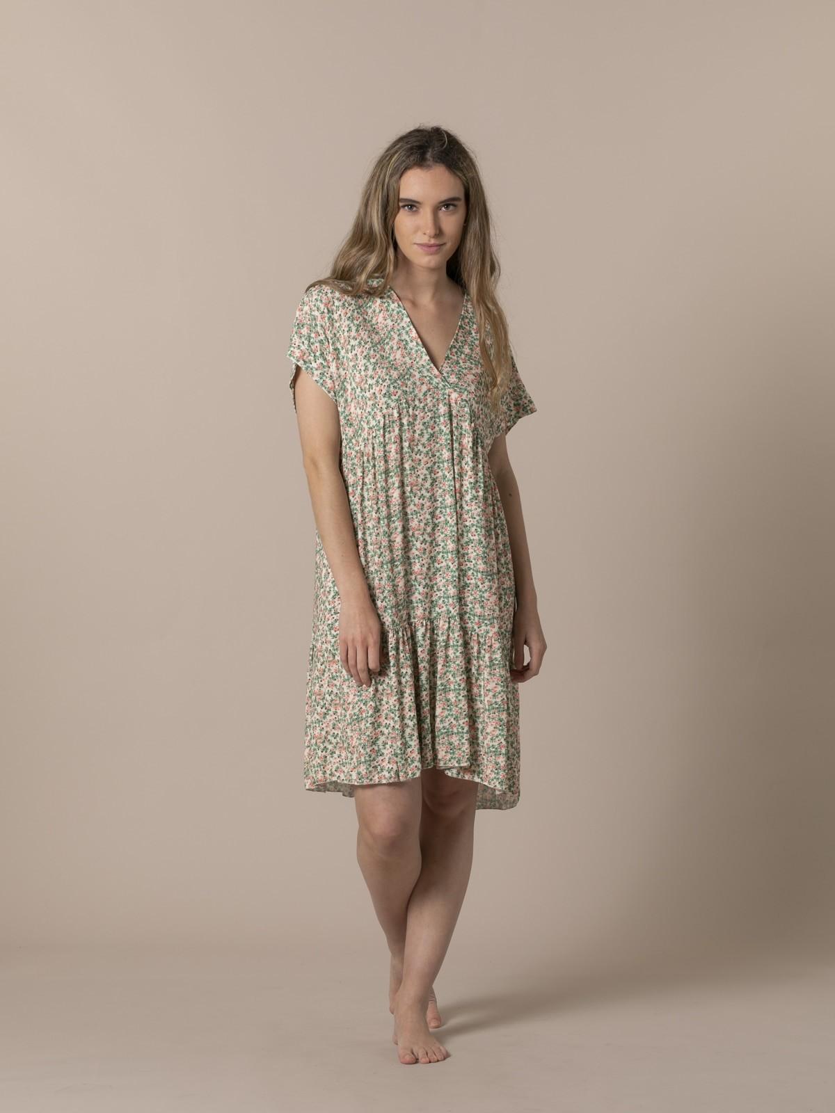 Woman Short printed dress Coral