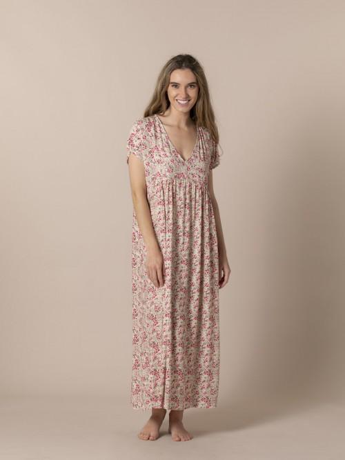 Woman Long printed dress Pink