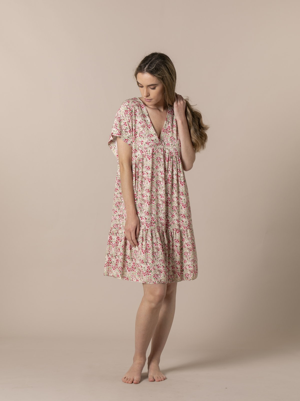 Vestido corto estampado Rosa