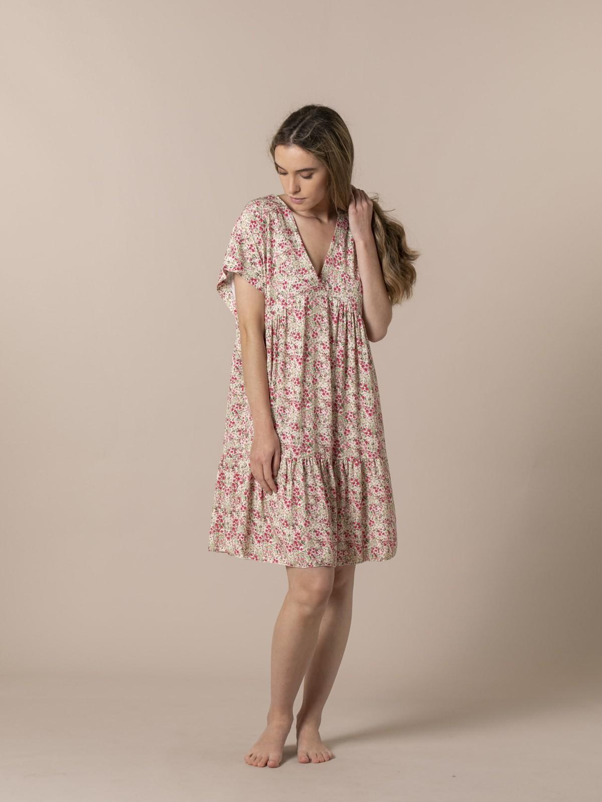 Woman Short printed dress Pink