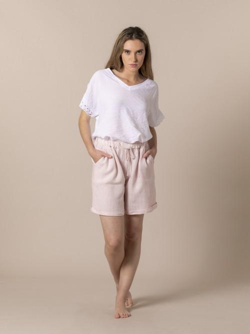 Short mujer con bolsillos de lino Rosa