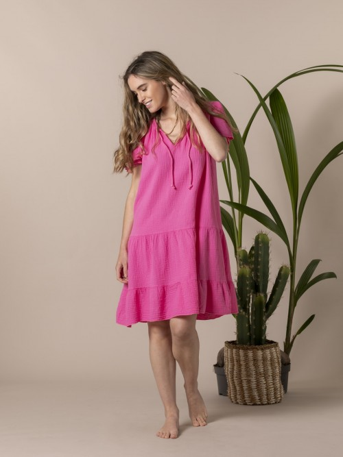 Woman Special flared cotton dress Pink
