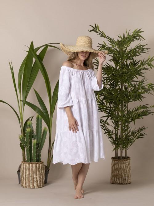 Vestido algodón lino bordado Blanco