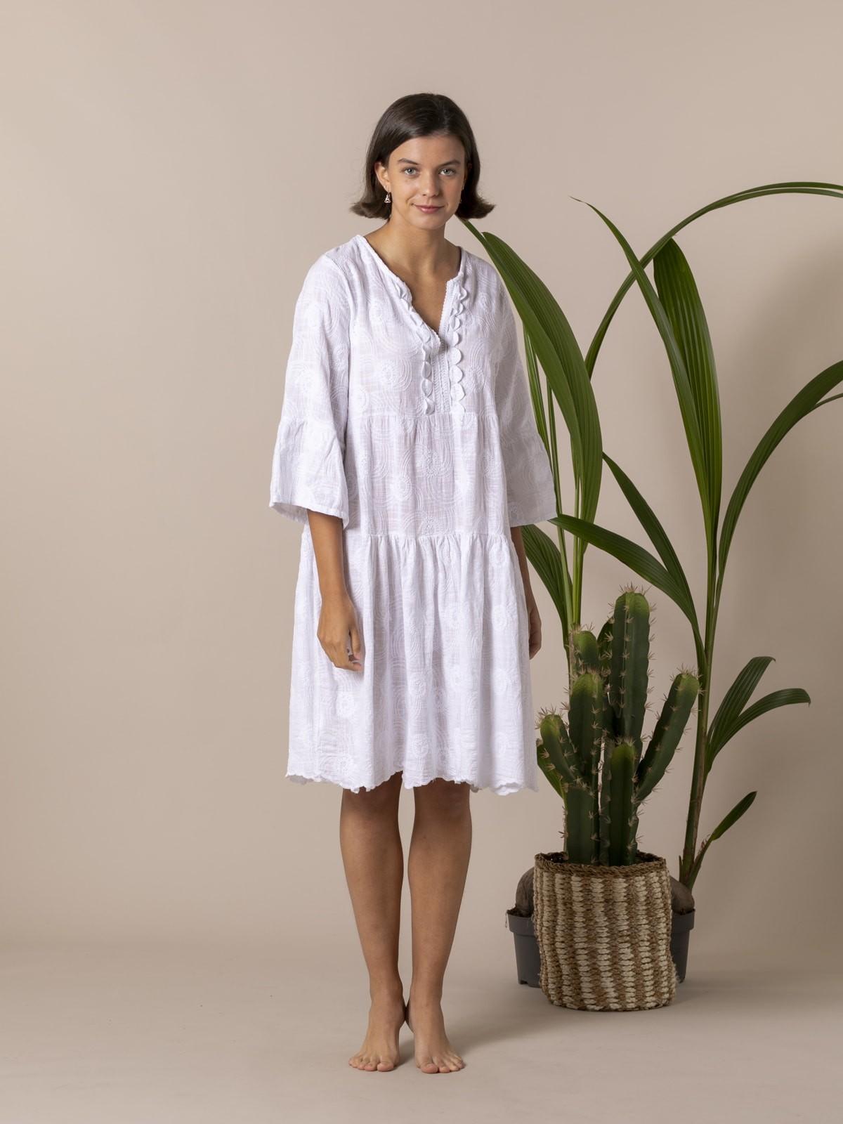 Vestido midi algodón lino bordado Blanco