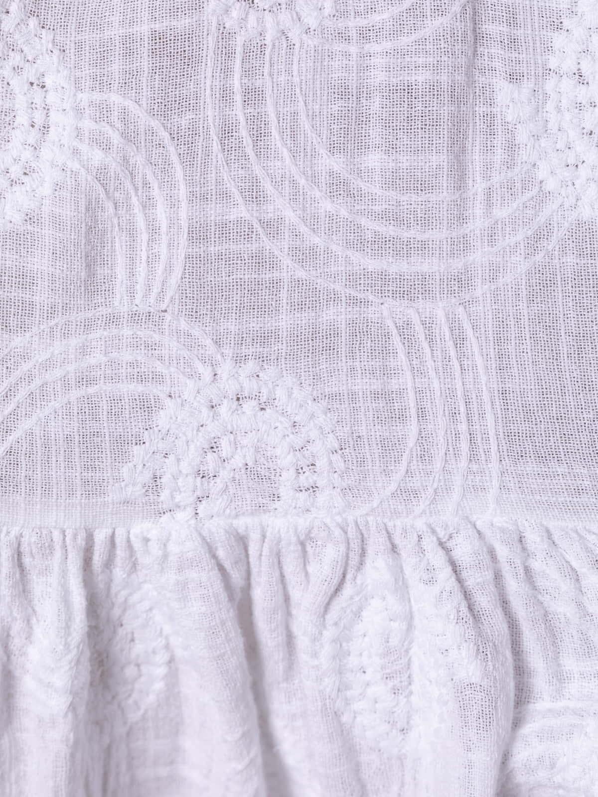 Woman Embroidered cotton linen midi dress White