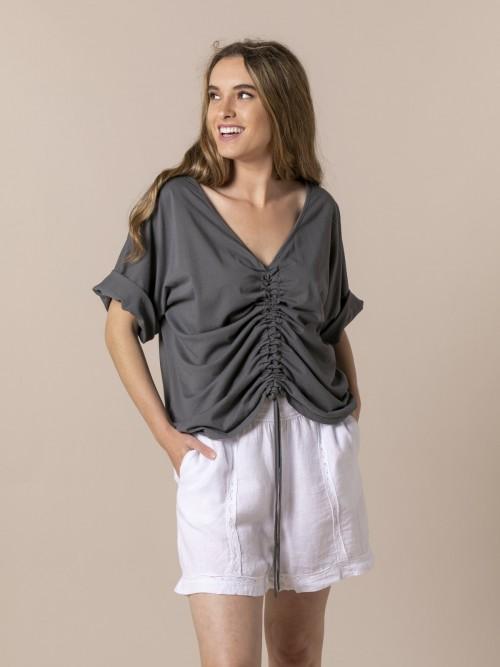 Camiseta mujer ajustable algodón Gris
