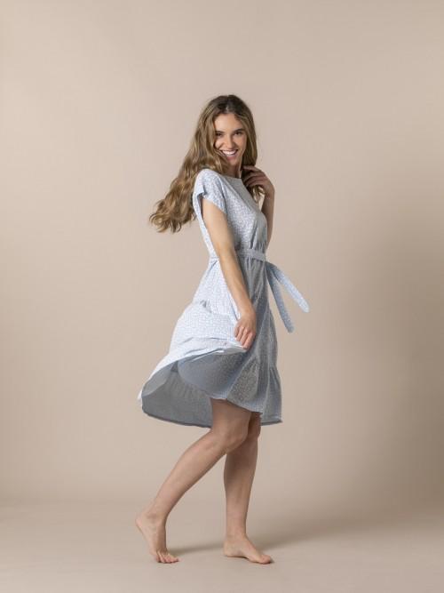 Woman Monochrome print fluid dress Blue