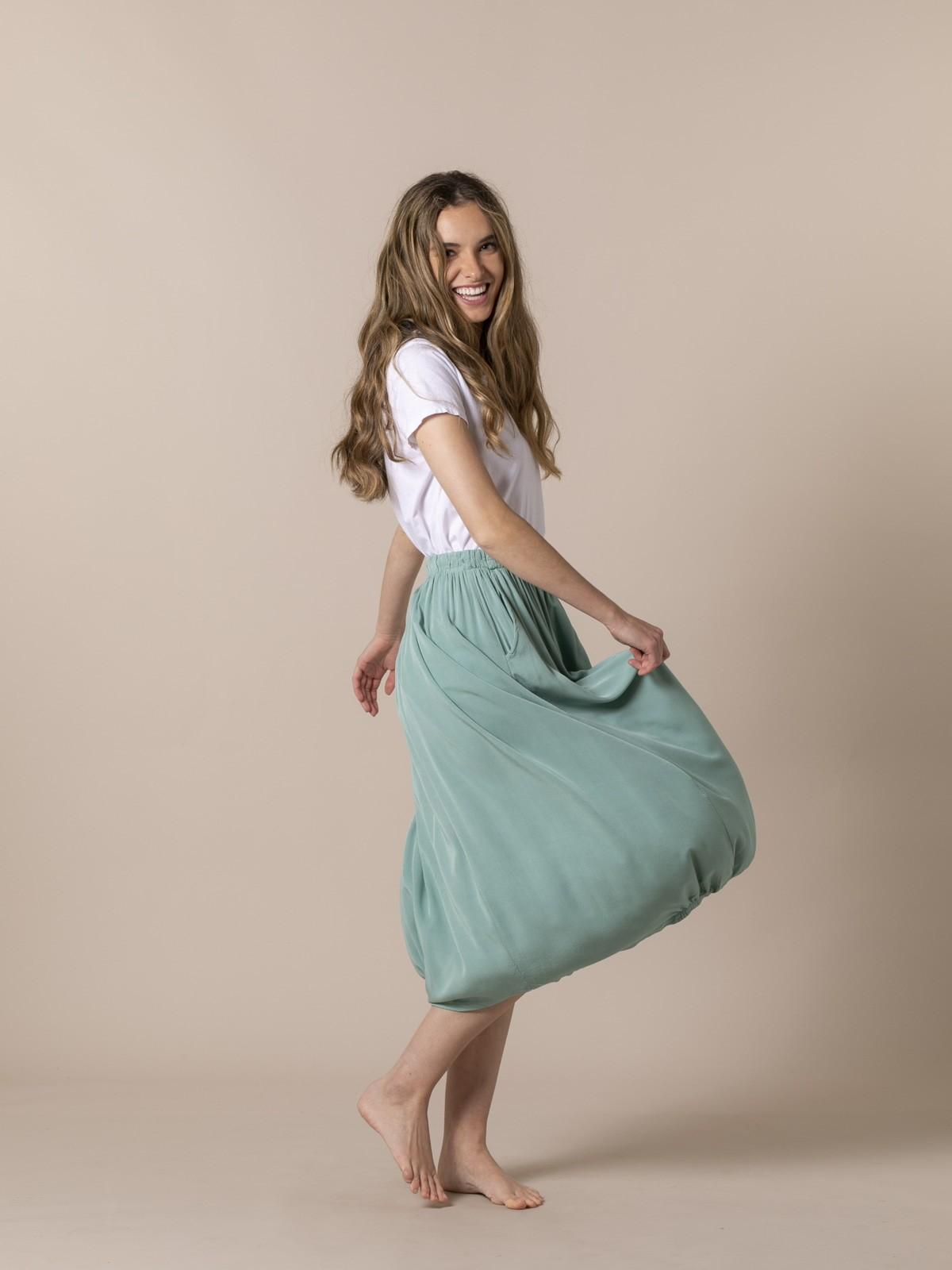 Falda fluida cintura elástica Verde