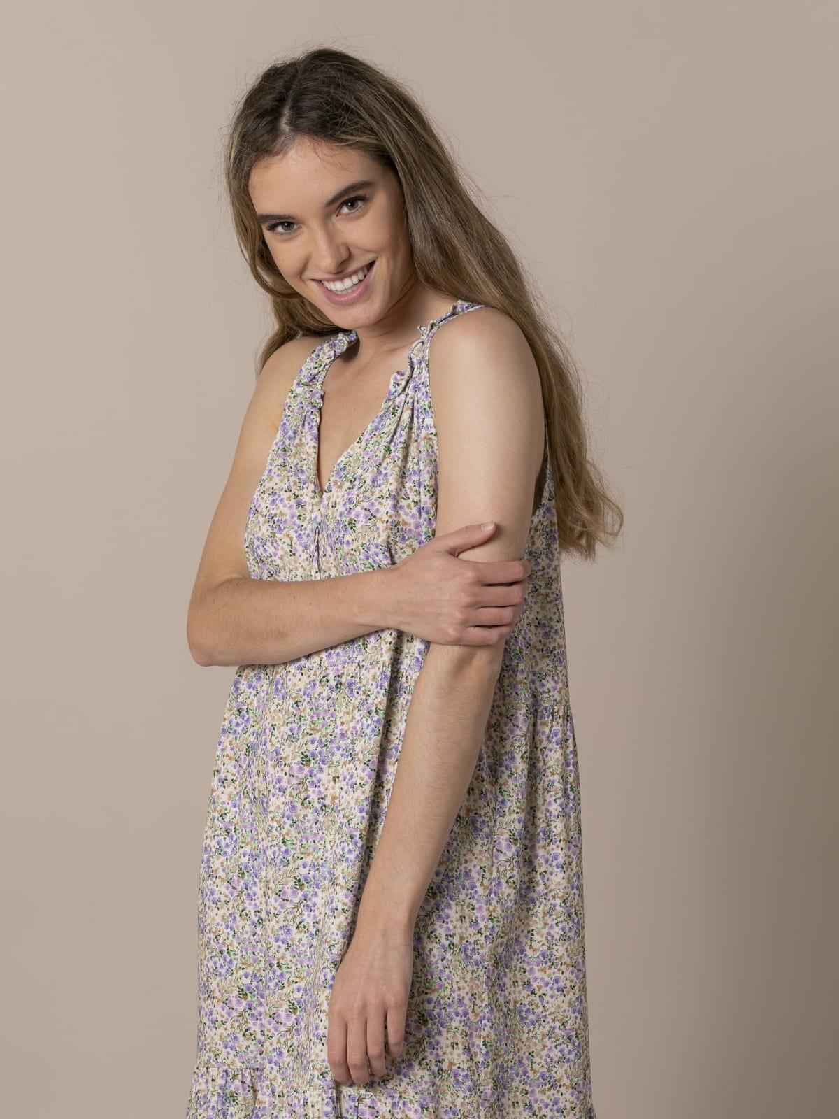 Vestido largo florecitas Lila