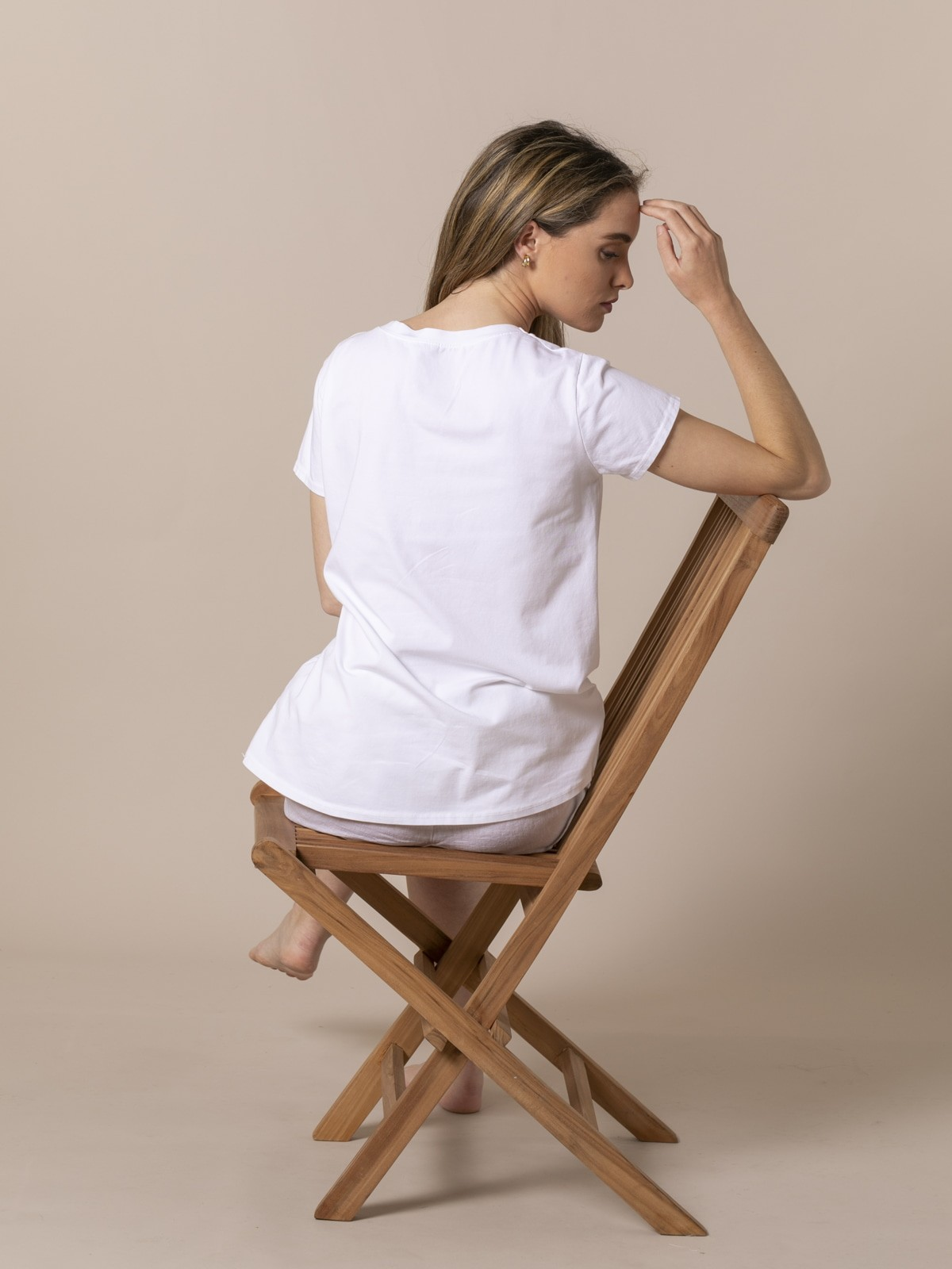 Woman Teddy print T-shirt Camel