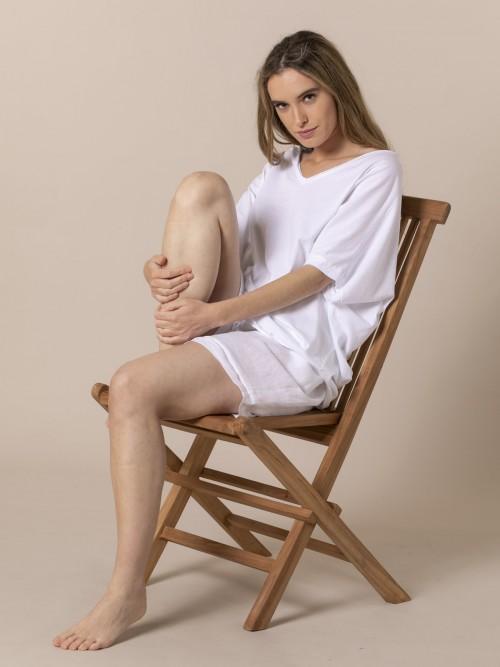 Camiseta amplia mujer algodón Blanco